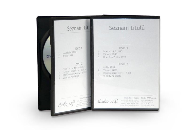 Uložení videí na CD nebo DVD (včetně plastové krabičky a vytisknutým popisem)